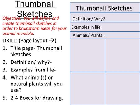 Thumbnail Sketches Objective: You will define and create thumbnail sketches in order to brainstorm ideas for your animal mandala. DRILL: (Page layout 