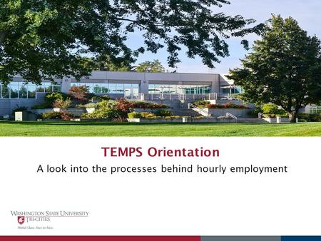 TEMPS Orientation A look into the processes behind hourly employment.
