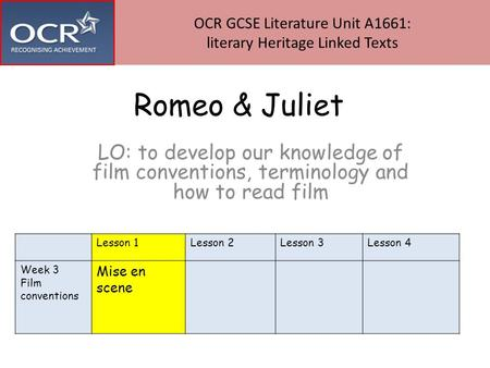 Romeo & Juliet LO: to develop our knowledge of film conventions, terminology and how to read film OCR GCSE Literature Unit A1661: literary Heritage Linked.