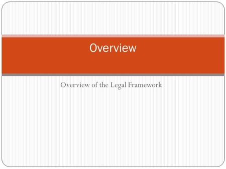 Overview of the Legal Framework Overview. There are two main sources of employment law in Canada  Statute law  Common Law Statutes usually address issues.