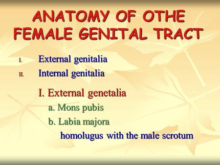 ANATOMY OF OTHE FEMALE GENITAL TRACT I. External genitalia II. Internal genitalia I. External genetalia a. Mons pubis a. Mons pubis b. Labia majora b.