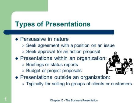 Chapter 10 - The Business Presentation 1 Types of Presentations Persuasive in nature  Seek agreement with a position on an issue  Seek approval for an.