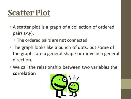 Scatter Plot A scatter plot is a graph of a collection of ordered pairs (x,y). The ordered pairs are not connected The graph looks like a bunch of dots,