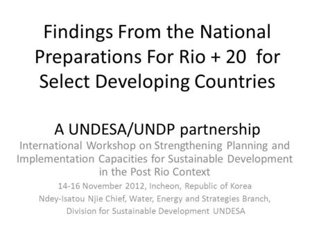 Findings From the National Preparations For Rio + 20 for Select Developing Countries A UNDESA/UNDP partnership International Workshop on Strengthening.