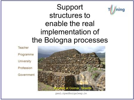 Support structures to enable the real implementation of the Bologna processes Pyramid at Güímar, Tenerife Teacher Programme University.
