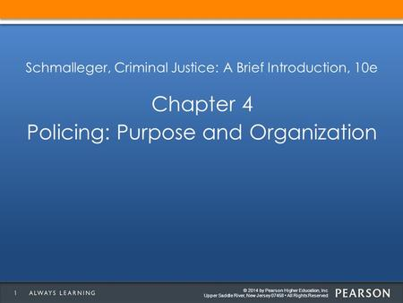 © 2014 by Pearson Higher Education, Inc Upper Saddle River, New Jersey 07458 All Rights Reserved Schmalleger, Criminal Justice: A Brief Introduction, 10e.