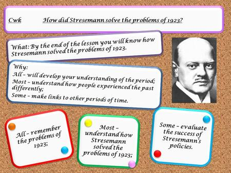Cwk How did Stresemann solve the problems of 1923? What: By the end of the lesson you will know how Stresemann solved the problems of 1923. All – remember.