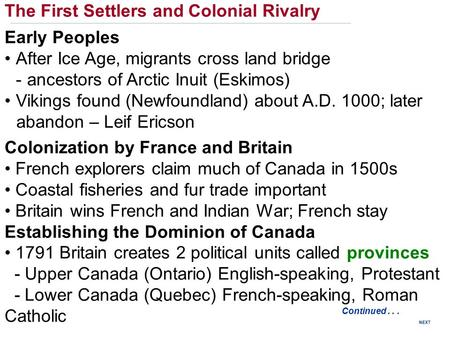 The First Settlers and Colonial Rivalry Early Peoples After Ice Age, migrants cross land bridge -ancestors of Arctic Inuit (Eskimos) Vikings found (Newfoundland)