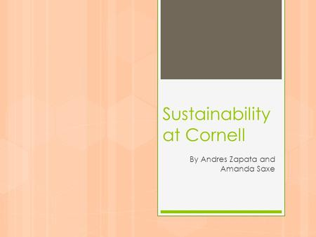 Sustainability at Cornell By Andres Zapata and Amanda Saxe.