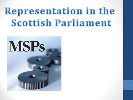 What you will learn The names of the different types of political representatives. The work of a MSP in the parliament and constituency. How a constituent.