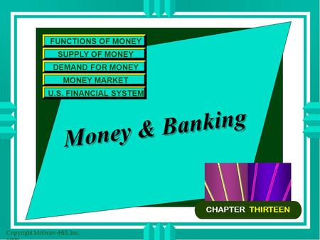 Copyright McGraw-Hill, Inc. 1999 Money & <strong>Banking</strong> FUNCTIONS OF MONEY SUPPLY OF MONEY DEMAND FOR MONEY MONEY MARKET U.S. FINANCIAL SYSTEM CHAPTER THIRTEEN.