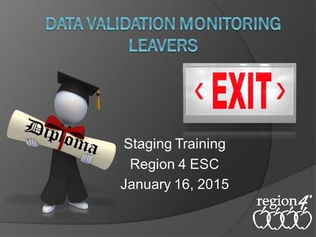Staging Training Region 4 ESC January 16, 2015. Data Validation Acronyms  DVM – Data Validation Monitoring  DA – Data Analysis (Intervention document)