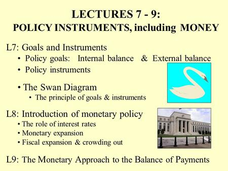 L7: Goals and Instruments Policy goals: Internal balance & External balance LECTURES 7 - 9: POLICY INSTRUMENTS, including MONEY The Swan Diagram The principle.