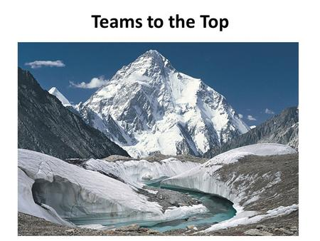Teams to the Top. Inspire the goal Align the environment Build the team Progress up Overcome obstacles Achieve success Inspire new goals Celebrate & Disseminate.