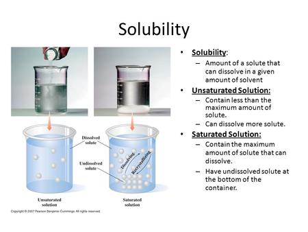Solubility Solubility: – Amount of a solute that can dissolve in a given amount of solvent Unsaturated Solution: – Contain less than the maximum amount.