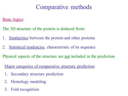 Comparative methods Basic logics: The 3D structure of the protein is deduced from: 1.Similarities between the protein and other proteins 2.Statistical.