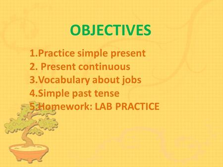 OBJECTIVES 1.Practice simple presentPractice simple present 2. Present continuous Present continuous 3.Vocabulary about jobsVocabulary about jobs 4.Simple.