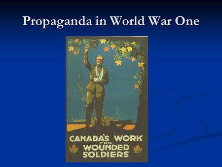 Propaganda in World War One. What is Propaganda? Propaganda is a message with an agenda. It attempts to spread a point of view'. Propaganda is a message.