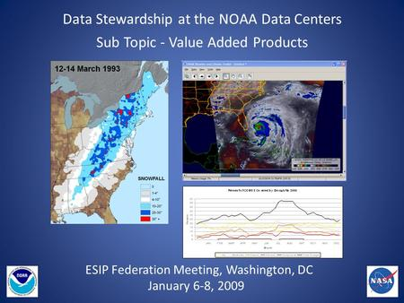 Data Stewardship at the NOAA Data Centers Sub Topic - Value Added Products ESIP Federation Meeting, Washington, DC January 6-8, 2009.