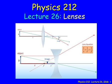 Physics 212 Lecture 26, Slide 1 Physics 212 Lecture 26: Lenses.