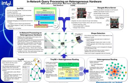 Www.intel.com/research In-Network Query Processing on Heterogeneous Hardware Martin Lukac*†, Harkirat Singh*, Mark Yarvis*, Nithya Ramanathan*† *Intel.