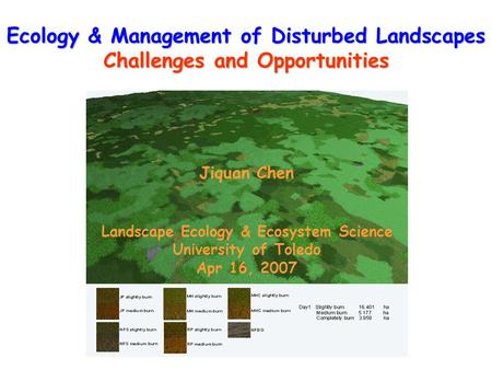 Ecology & Management of Disturbed Landscapes Challenges and Opportunities Jiquan Chen Landscape Ecology & Ecosystem Science University of Toledo Apr 16,