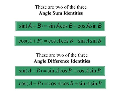 These are two of the three Angle Sum Identities These are two of the three Angle Difference Identities.