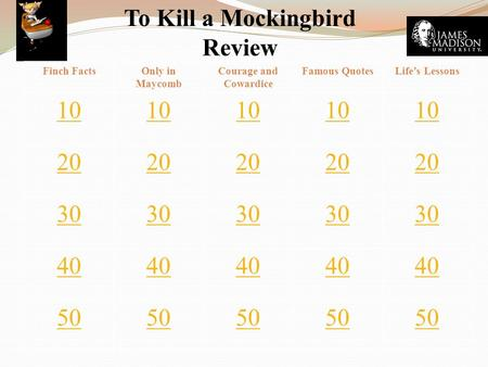 To Kill a Mockingbird Review Finch FactsOnly in Maycomb Courage and Cowardice Famous QuotesLife's Lessons 10 20 30 40 50.