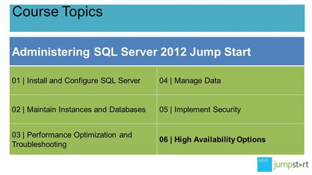 Course Topics Administering SQL Server 2012 Jump Start 01 | Install and Configure SQL Server04 | Manage Data 02 | Maintain Instances and Databases05 |