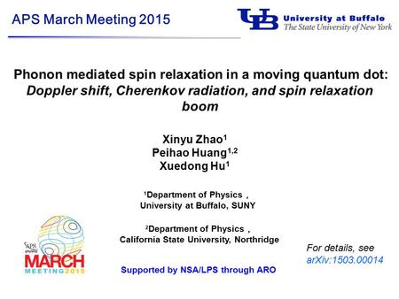 1 Department of Physics , University at Buffalo, SUNY APS March Meeting 2015 Phonon mediated spin relaxation in a moving quantum dot: Doppler shift, Cherenkov.