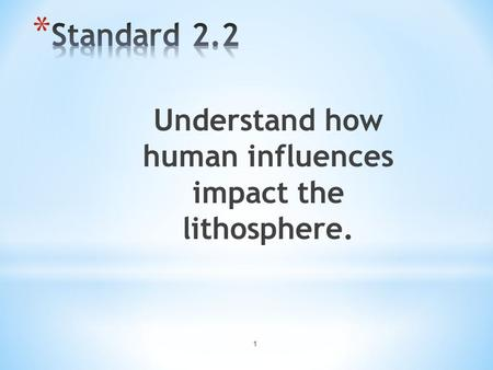 Understand how human influences impact the lithosphere.