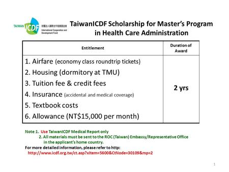 1 TaiwanICDF Scholarship for Master's Program in Health Care Administration Entitlement Duration of Award 1. Airfare (economy class roundtrip tickets)