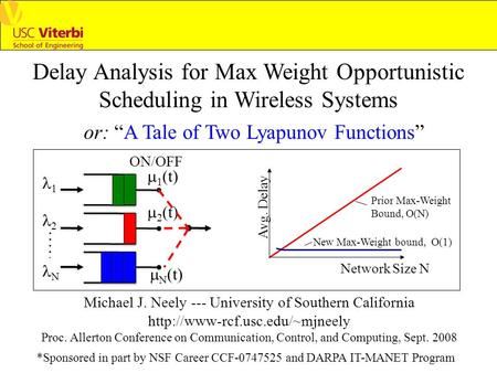 Delay Analysis for Max Weight Opportunistic Scheduling in Wireless Systems Michael J. Neely --- University of Southern California