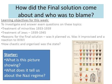 How did the Final solution come about and who was to blame?