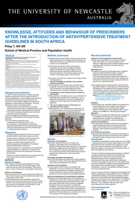 KNOWLEDGE, ATTITUDES AND BEHAVIOUR OF PRESCRIBERS AFTER THE INTRODUCTION OF ANTIHYPERTENSIVE TREATMENT GUIDELINES IN SOUTH AFRICA In 1998 The National.