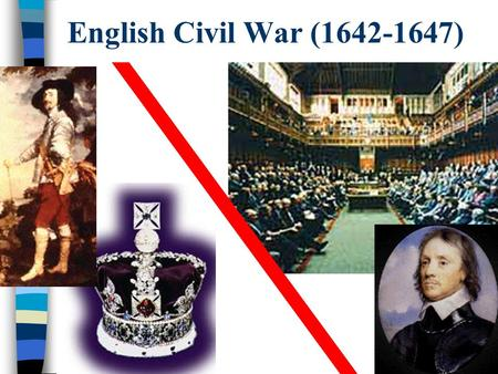 English Civil War (1642-1647) Reasons for the English Civil War In 1603, Elizabeth died. She never married, so there were no heirs to continue the Tudor.