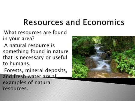 What resources are found in your area? A natural resource is something found in nature that is necessary or useful to humans. Forests, mineral deposits,