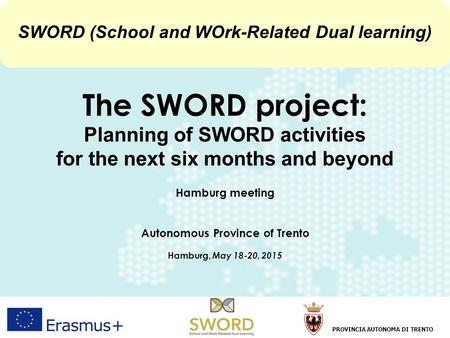1 Hamburg, 18-20 May 2015Francesco RubinoProvincia Autonoma di Trento The SWORD project: Planning of SWORD activities for the next six months and beyond.