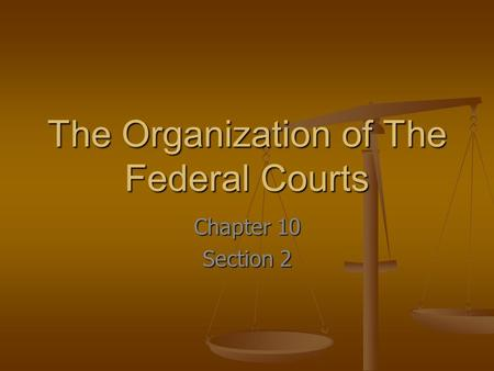 The Organization of The Federal Courts Chapter 10 Section 2.