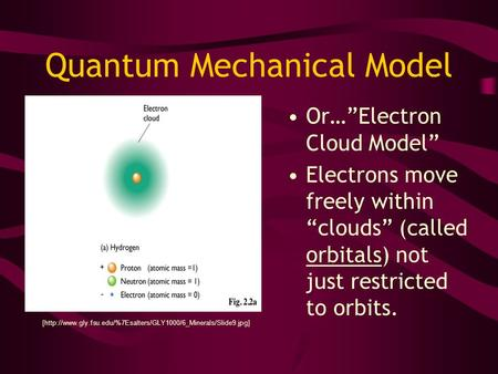 "Quantum Mechanical Model Or…""Electron Cloud Model"" Electrons move freely within ""clouds"" (called orbitals) not just restricted to orbits. [http://www.gly.fsu.edu/%7Esalters/GLY1000/6_Minerals/Slide9.jpg]"