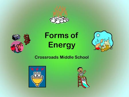 SC Standard 6-5.1 Forms of Energy Crossroads Middle School.