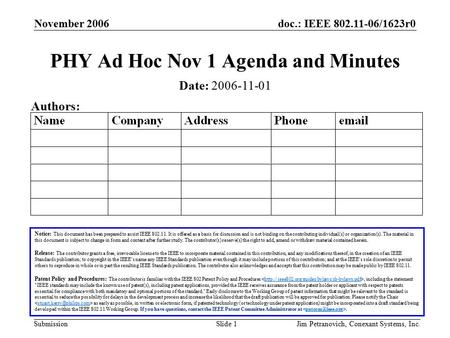 Doc.: IEEE 802.11-06/1623r0 Submission November 2006 Jim Petranovich, Conexant Systems, Inc.Slide 1 PHY Ad Hoc Nov 1 Agenda and Minutes Notice: This document.
