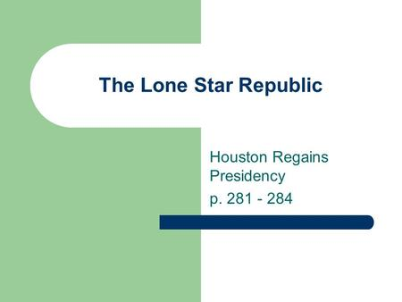 The Lone Star Republic Houston Regains Presidency p. 281 - 284.
