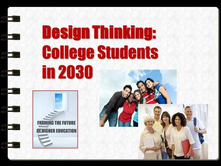 Design Thinking: College Students in 2030. Design Thinking You can't dig a new hole by digging the same one deeper. -- Edward de Bono.