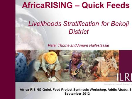 AfricaRISING – Quick Feeds Livelihoods Stratification for Bekoji District Peter Thorne and Amare Haileslassie Africa-RISING Quick Feed Project Synthesis.