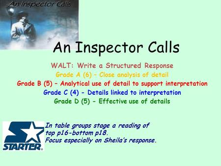 an inspector calls detail An inspector calls mr johnson's exam revision booklet how should i revise 1 firstly, you need to look at some past.