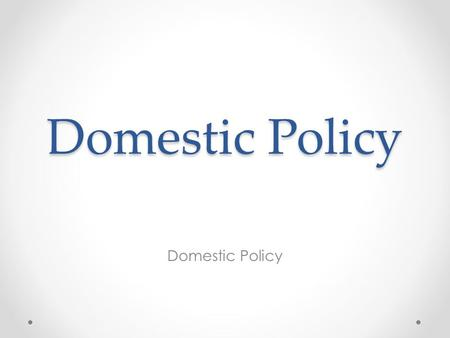 Domestic Policy. Government Policies and Individual Welfare The promotion of social and economic equality through government policies is controversial.