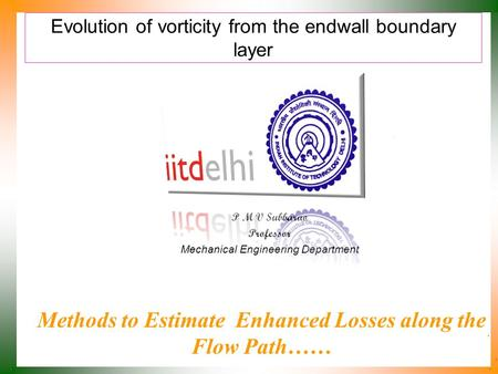 Evolution of vorticity from the endwall boundary layer P M V Subbarao Professor Mechanical Engineering Department Methods to Estimate Enhanced Losses along.