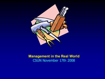 Management in the Real World CSUN November 17th 2008.