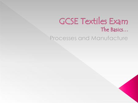 GCSE Textiles Exam The Basics…